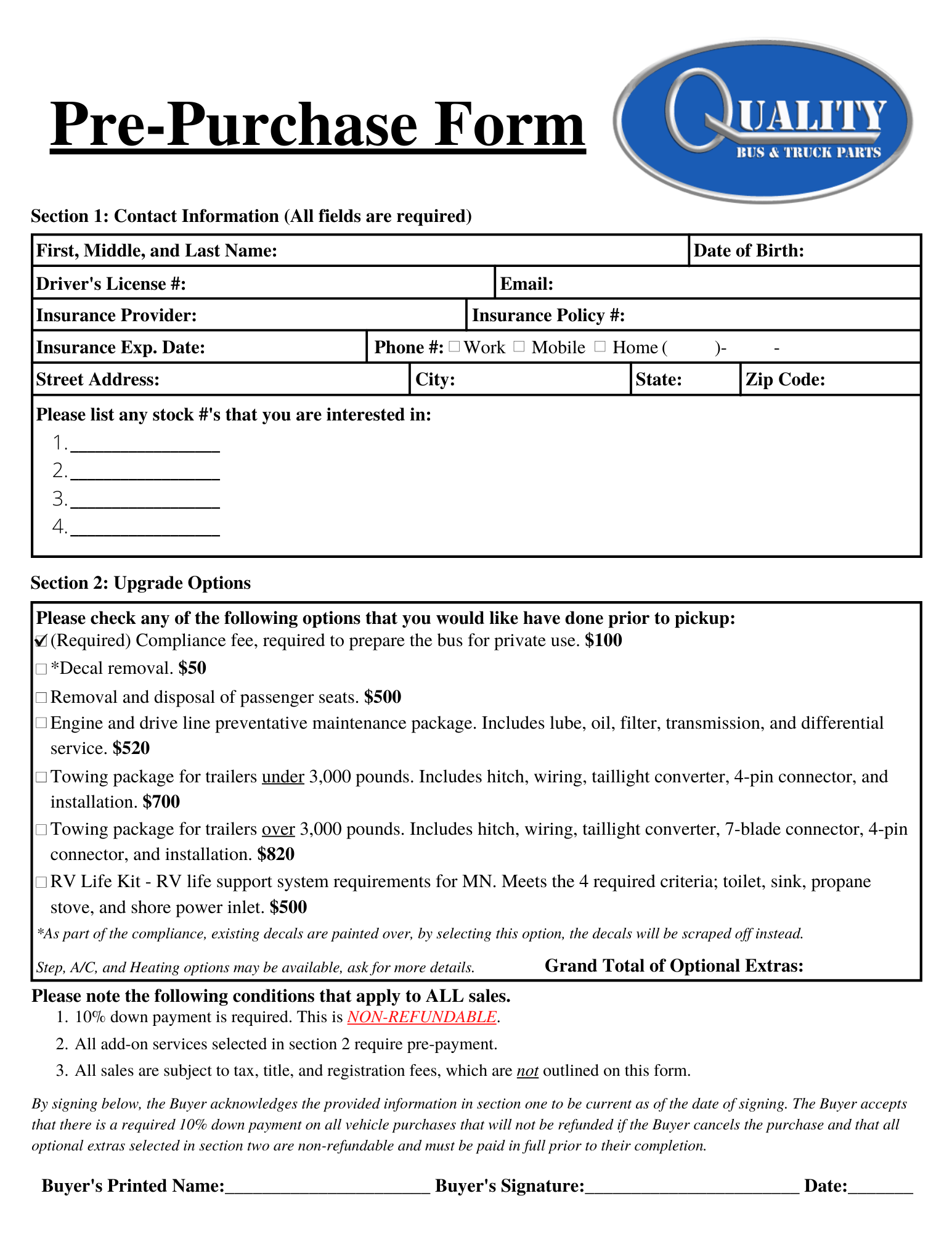 Pre-Purchase Form